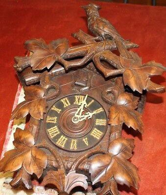 vintage cuckoo clock black forest carved birds repair restore antique