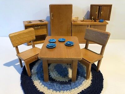 Dollhouse Miniature Complete Natural Wood Kitchen Set Table Dining Vintage 1:12