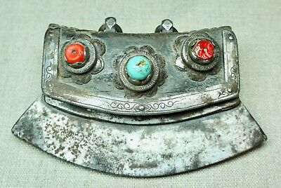 Antique Tibetan Leather Copper Brass Iron Fire Starter Chuckmuck Tinder Pouch