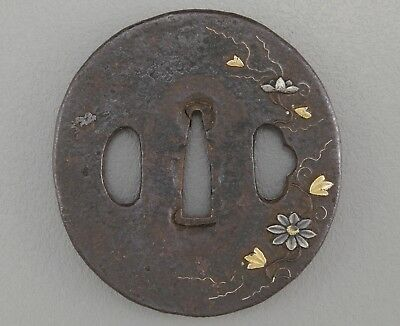 Pre-1800 Orig Flowers Tsuba Japanese sword fittings koshirae katana wakizashi