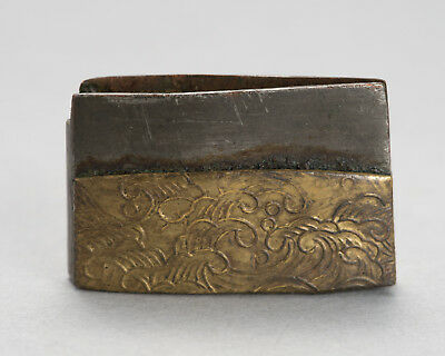 Edo period Antique KIN-KISE HABAKI Japanese short sword fittings, Tanto Koshirae