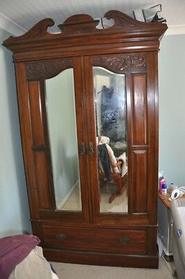 Solid Wood Mirrored Wardrobe + Drawer