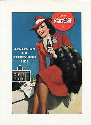 1940 COCA COLA Print Ad + CHESTERFIELD Cigarettes~ARMY NAVY Football Centerfold