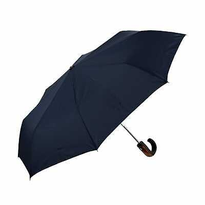 Clifton Auto Open Close Mens Folding Wood Trim Handle Navy Umbrella