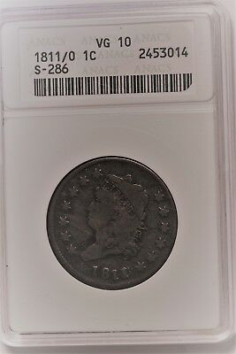 1811/10 large Cent S-286 ANACS VG-10