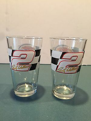 Miller Lite Rusty Wallace Nascar pint Beer Glasses Set Of 2 M