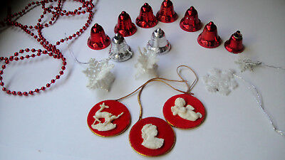 Vintage Mixed Lot Christmas Decorations Red Bells- Miniature