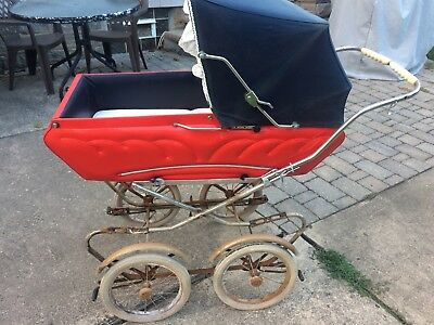 VINTAGE  Italian Blue & Red 4 Wheel Baby Carriage Stroller