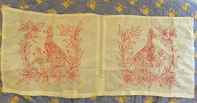 """True Vintage Antique Red Work 1-Pc Linen Lay Over Pillow Cover  """"peacocks"""""""