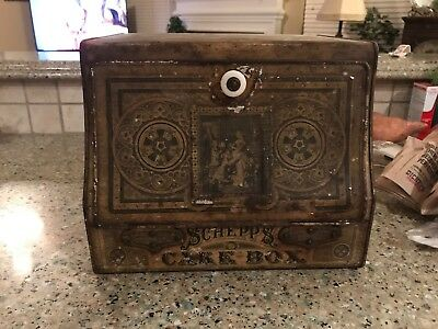 ANTIQUE SCHEPP'S CAKE TIN LITHO 1890s ART NOUVEAU GRAPHIC BREAD BOX COCOANUT
