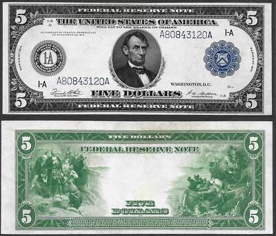 1914 $5 Federal Reserve ~ Large Size Boston ~ Crisp Almost Uncirculated~
