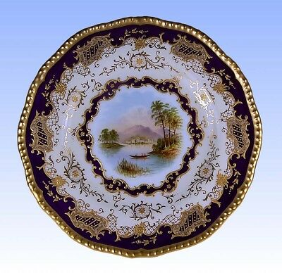 Antique Coalport Hand Painted Signed E. Ball Scenic Cobalt Gold Cabinet Plate!