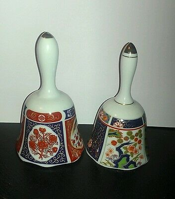 "Vintage Pair of Hand Painted Imari 5 1/8"" Porcelain Bells ~ Made in Japan"