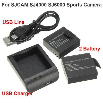 2x900mAh 3.7V Li-ion Battery+USB Charger Set For SJCAM SJ4000/6000 Sports Camera