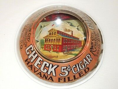 RARE 1910's CHECK CIGARS QUEBEC CANADA STORE ADVERTISING GLASS CHANGE TRAY SIGN
