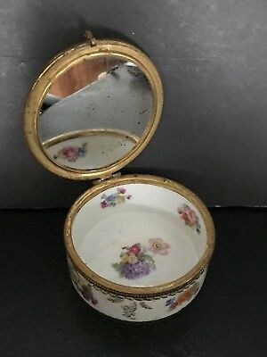 Antique French Germany Porcelain Violet Round Jewelry Box Lidded Art Gilt Gold