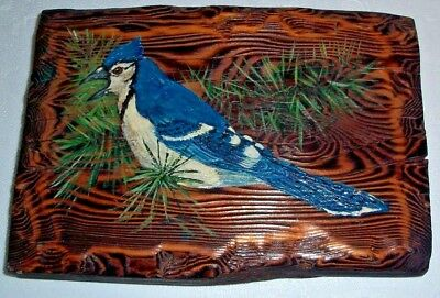 Vintage Blue Jay Bird Painting On Wood Plank 1973 Catskills Estate Signed Dated