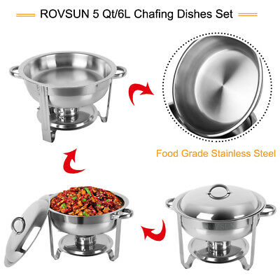 2 Pack Stainless Steel Chafer Round Chafing Dish Sets 5 QT Dinner Serving