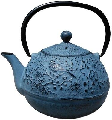 Old Dutch Suzume 3-Cup Japanese Cast Iron Teapot Brewing Basket Waterfall Blue