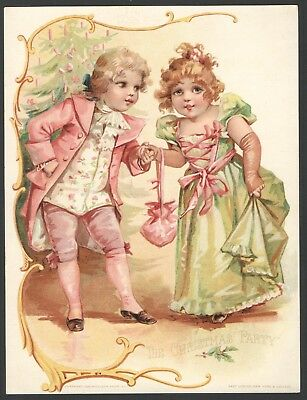 LG Victorian Tradecard LION Coffee Woolson Spice Co's COPR 1893 CHRISTMAS PARTY