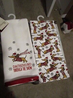 Dachshund Through the Snow KITCHEN Dog Towels Set of 2 - Holiday Christmas THICK
