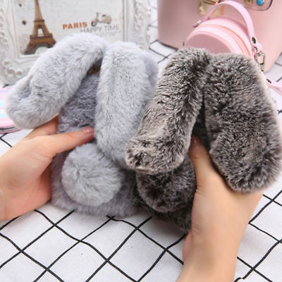 Case Cover for iPhone XR XS MAX 8 7 6 6s Plus Rabbit Fur Plush Fuzzy Fluffy Back