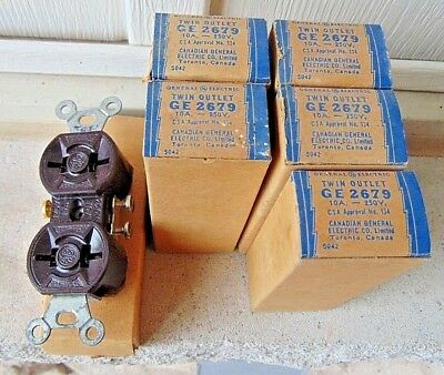Lot Of (6) Vintage Nos Ge Electrical Wall Receptacles, Outlets Plugs