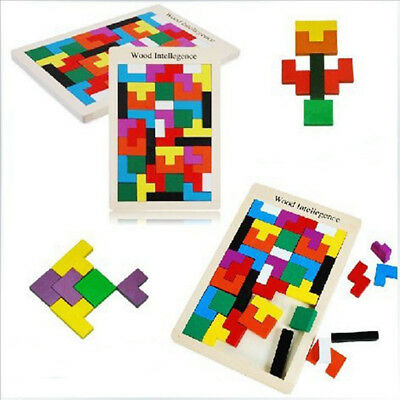 Wooden IQ Game Jigsaw Intelligent Tangram Brain Teaser Puzzle Baby Kid Toy New