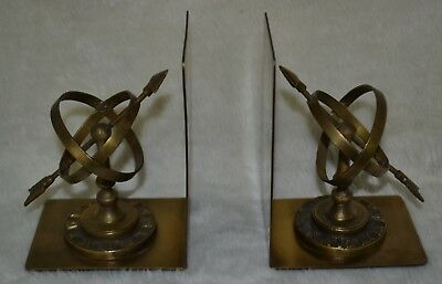 Pair of Vintage Brass Bookends Sundial Armillary Spheres Globe w/ Roman Numerals