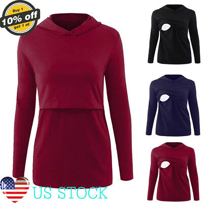 Women Maternity Clothes Long Sleeve Nursing Hooded Tops Casual Blouse Hoodies US