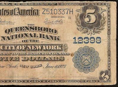 Large 1902 $5 Dollar Bill Queensboro National Bank Note Currency Paper Money