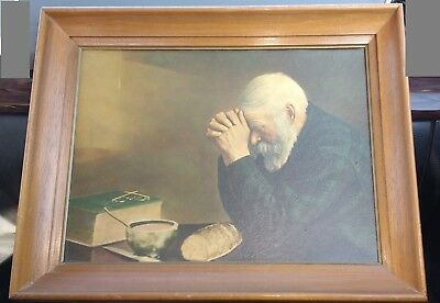 Vintage Old Man Praying Framed Picture Grace Daily Bread Eric