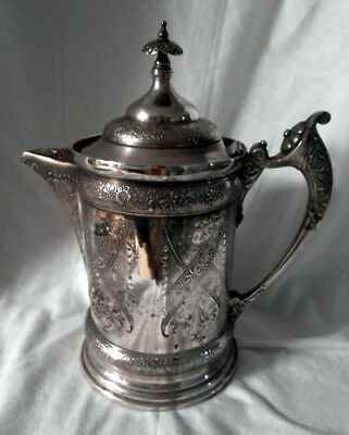Antique Silver Plated Double Wall Water Pitcher ~ EDWARDIAN ERA Beauty!