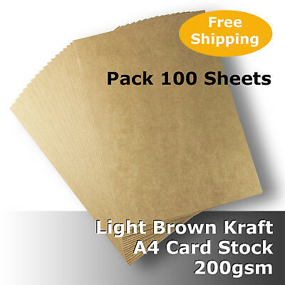 100 Sheets x Kraft Light Brown ReCycled Card A4 Size 200gsm #S0208 #D12