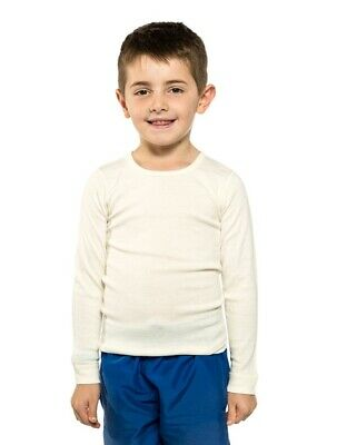 Boys Ktena Aust Made Wool Blend Thermal Long Sleeve Top Beige