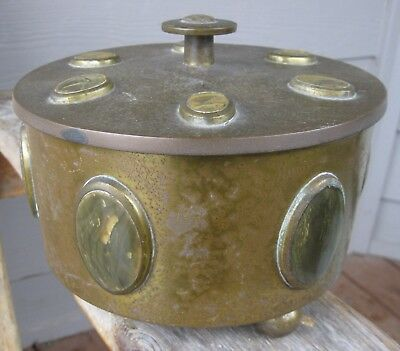 Antique Bronze/Brass Lidded Container Bezel Set Stones India Vintage PATINA/Age