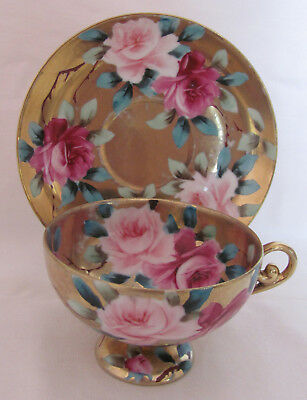 Nippon Pedestal Cup and Saucer Gold and Roses Pattern Maple Leaf Mark, c.1891