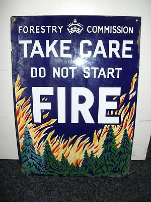 1950's Enamel Forestry Commission Do Not Start Fire Sign