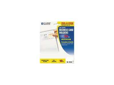 C-line 70238 Self-Adhesive Business Card Holders, Side Load, 3-1/2 x 2, Clear, 1