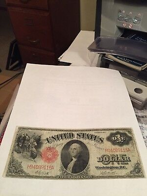1917 $1 Dollar Us Note - Sawhorse Reverse - Red Seal - Fine To Very Fine See Pht