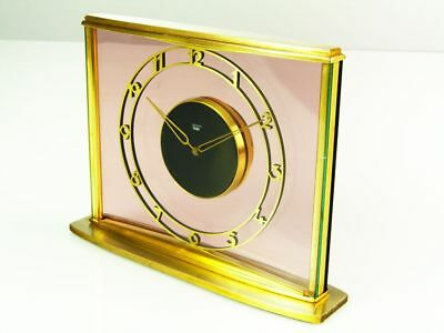 Beautiful Rare Later Art Deco Bauhaus Brass Desk Clock  Junghans Meister Germany