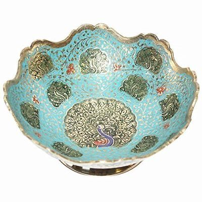 Indian Hand Crafted Metal Brass Fruit Bowl With Minakari Work, Bowl For Serving