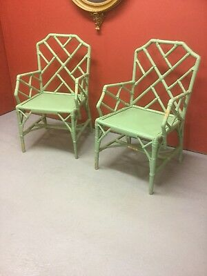 Pair Of Painted Bamboo Chairs Sn-512a