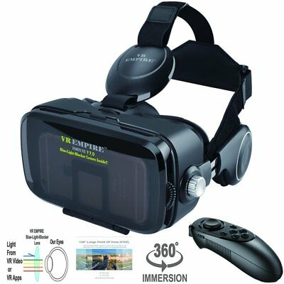VR Virtual Reaity Headset Remote Anti-Blue-Light Lenses 120° Stereo 3D Glasses