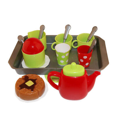 18pcs/set Kids ABS Plastic Tea Tray Plates Cups Set Pretend Play Role Play Toy