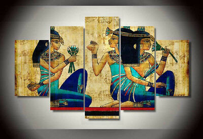 Maat Isis Egyptian Goddess Lady Of Truth Papyrus 5 Panel Canvas Print Wall Art