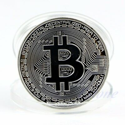 Bitcoin Physical Collectible Coin BTC Silver Plated 1 Ounce 40mm