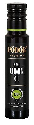Podor Premium Cold-PressedOrganic  Black Cumin Seed Oil in dark bottle 100ml,