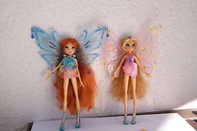 Winx Club Enchantix Figuren / Puppen - Flora und Bloom + 2 Flügel!