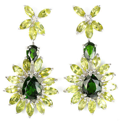 Big 36X18Mm. Natural Green Chrome Diopside & Peridot Sterling 925 Silver Earring